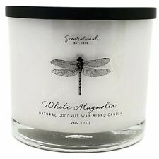 Scentsational Natural Coconut Wax 26oz Cotton 3 Wick Candle Jar - White Magnolia