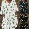 ZANZEA Damen V Neck Halbarm Kleid Hemdkleid Tops Print Beach Holiday Sommerkleid