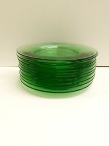 "Lime Green Nice Set Of 5, 8 3/4"" un named Glass Plates"