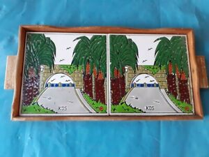 VERY BEAUTIFUL DOUBLE SERVING TRAY/DISC FOR GREEK/TURKISH COFFEE--KOS ISLAND