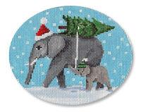 Needlepoint Handpainted CHRISTMAS CBK Elephant Bringing Tree 5x4