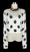H&M Jumper - Knit Knitted Cropped Jumper White Black Daisy Floral 90s Boho - S/M