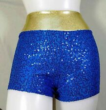 NWT Pumpers Blue Sequin and Gold Boyshort Costume  Adult S