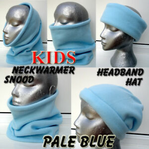 Kids girls boys LIGHT BLUE SNOOD fleece neck warmer scarf hat beanie school ski