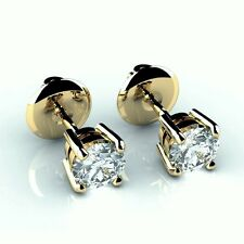 Gorgeous D-E/VS 0.30Ct Claw Set Round Diamond Stud Earring in 18k Y.G-Screw Back