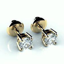 Precioso 0,20 ct Garra conjunto ronda diamante Arito En 18k y.g-screw bac5