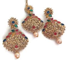 Indian Multi Color Rhinestone Pearl Maang Tikka Earrings Wedding Jewelry Set 2