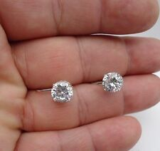 925 STERLING SILVER LADIES DESIGNER LEVERBACK STUD EARRINGS W/ 5 CT DIAMOND