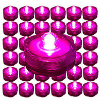 36 HOT PINK LED Submersible Tea Lights Wedding Centerpiece Eiffel Tower Vase USA