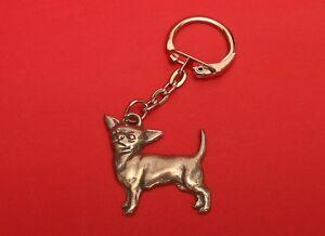 Chihuahua Dog Pewter Keyring - Chihuahua Keychain - Pet Dog Mum Dad Xmas Gift