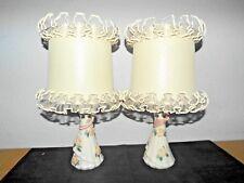 """LAMPS A ADORABLE PAIR UNIQUE 16""""H ANTIQUE CERAMIC FLORAL DISPLAY VANITY LAMPS"""