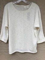 NWT CHICO'S 3/4 Sleeve Metallic Stripe Easy Tee Shirt Top 2 Large 12 Petite