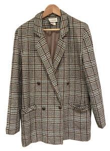 Vintage Katies Wool Blend Houndstooth Jacket Blazer Womens Size 10 Made In Aus