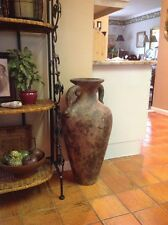 """Vintage 31"""" Tall Ceramic Clay Urn/Vase With 2 Handles Made In Mexico"""