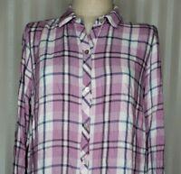 J JIll Womens Sz L Blouse Long Sleeve Purple Blue White Plaid Button Front Shirt