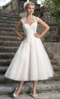 New Vintage White/Ivory Tea Length Lace Tulle Wedding Dress Bridal Gown Size6-18