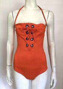 ETRO Orange Lace Up Front Swimsuit Eu 44 Uk 16