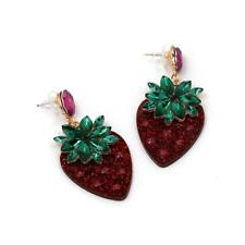 CG3154...RHINESTONE & ACRYLIC STRAWBERRY EARRINGS - FREE UK P&P