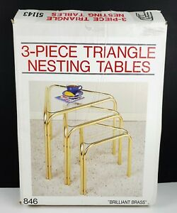 Vintage Powall 3 Piece Gold Triangle Nesting Table Set New in Box NOS