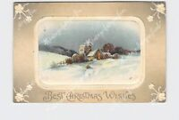 PPC POSTCARD BEST CHRISTMAS WISHES SNOW COVERED LANDSCAPE EMBOSSED