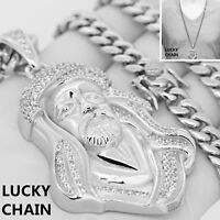 STAINLESS STEEL ICED OUT JESUS FACE HEAD SILVER PENDANT CUBAN CHAIN 140g