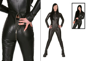 Genuine Leather Catsuit Lederoverall Long Zipper Sexy Dress Cat suit kinky ALL