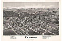 Clarion, Clarion County, Pennsylvania. Antique Birdseye Map; 1896