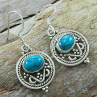 Solid 925 Sterling Silver Turquoise Gemstone Earrings Jewelry