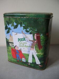 Ancienne boîte lessive Persil 100 ans de blancheur en métal déco rétro vintage