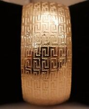 NEW Women's LARGE Cuff Fashion Bracelet Bangle jewlrey Greek Key YELLOW GOLD