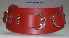 Breites Rotes Leder-Halsband mit 3 Ringen + Ziernieten anatomisch geformt LWPH