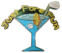 Blue Martini Glass Golf Ball Marker - Package of 2