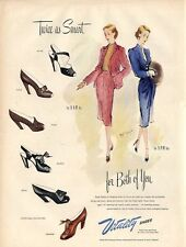 1946 Vitality PRINT AD Vintage Shoes Fashion Dress Beautiful ART Two ladies