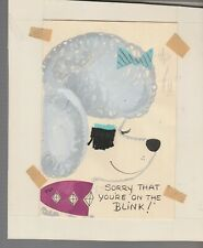 SORRY YOURE ON THE BLINK Cartoon Poodle w Eyelashes 5x7 Greeting Card Art #C9804