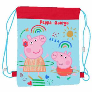 Peppa Pig & George Childrens Drawstring Bag School Sports PE Swimming Unisex