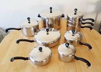 Vintage FARBERWARE Aluminum Clad Stainless Steel 16 Piece Pans Pots Skillets Set