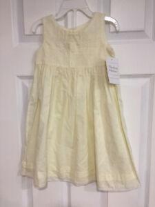 NWT Strasburg Children Yellow Cotton Sleevless dress, 24 Months white embroidery