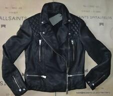 All Saints Catch/Cargo Style Leather Biker Jacket Black Size 8 BNWT £318