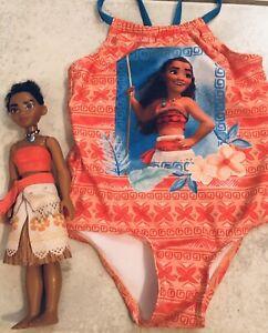 Disney Moama Swimsuit 3T  & Disney Moana Doll