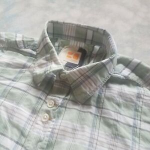 Hugo Boss Size M Orange Label  Men's Dress Shirt Green Plaid Slim Fit