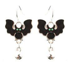 Zest Bat Halloween Earrings with Bell for Pierced Ears Black & Silver