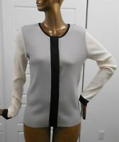 St John Gray Ivory Black Color Block Lightweight Cardigan Button Down Sweater M