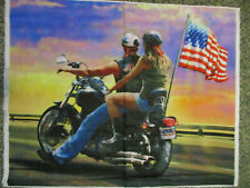 HARLEY MOTORCYCLE ROUTE 66 USA FLAG DIGITAL PRINT COTTON FABRIC PANEL