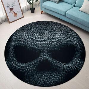 Black Background Halloween Skull Pattern Area Rugs Living Room Round Floor Mat