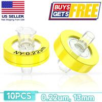 10PCS Nylon Syringe Filter Diameter 0.22μm Pore Size 13mm Female Luer Lock Inlet