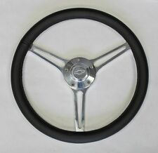 "64-66 Chevy II 2 Nova Impala Black Leather Billet Steering Wheel 14 3/4"" Bowtie"