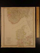 1844 BEAUTIFUL Huge Color MAP of Denmark Norway Jutland Scandinavia ATLAS