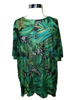 CAROLE LITTLE Plus Size 2X Shirt Top Black Green Blue Leaves Short Sleeve