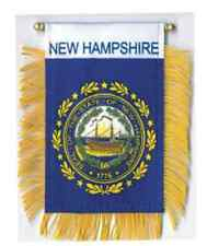 """New Hampshire Mini Banner Flag 4 x 6"""" with Brass Staff & Suction Cup - New"""