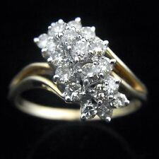 Vintage 1Ct Diamond Cluster Ring 14k Yellow Gold Mid Century Estate Jewelry Gift